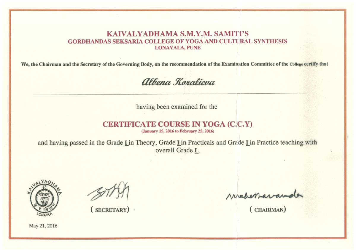 Certificate Course in Yoga