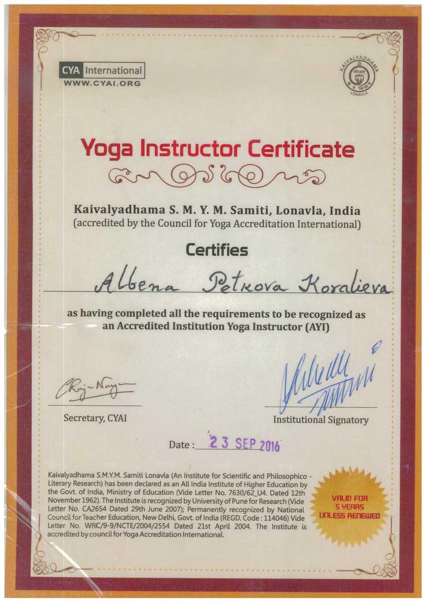 Сертификат Йога Инструктор